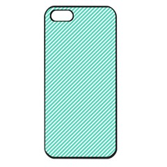 Tiffany Aqua Blue Diagonal Sailor Stripes Apple iPhone 5 Seamless Case (Black)