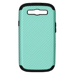 Tiffany Aqua Blue Diagonal Sailor Stripes Samsung Galaxy S III Hardshell Case (PC+Silicone)