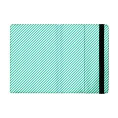 Tiffany Aqua Blue Diagonal Sailor Stripes Apple iPad Mini Flip Case