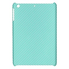 Tiffany Aqua Blue Diagonal Sailor Stripes Apple iPad Mini Hardshell Case