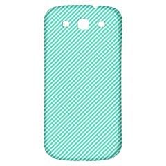 Tiffany Aqua Blue Diagonal Sailor Stripes Samsung Galaxy S3 S III Classic Hardshell Back Case