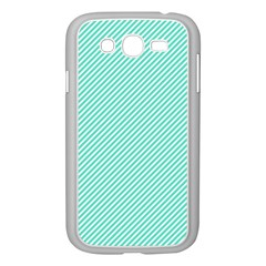 Tiffany Aqua Blue Diagonal Sailor Stripes Samsung Galaxy Grand DUOS I9082 Case (White)