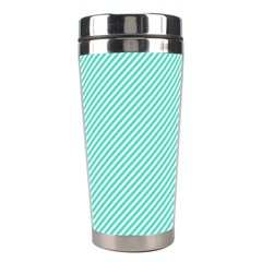 Tiffany Aqua Blue Diagonal Sailor Stripes Stainless Steel Travel Tumblers