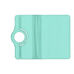 Tiffany Aqua Blue Diagonal Sailor Stripes Kindle Fire HD (2013) Flip 360 Case