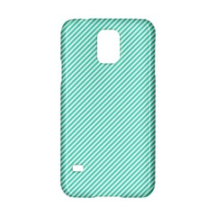 Tiffany Aqua Blue Diagonal Sailor Stripes Samsung Galaxy S5 Hardshell Case