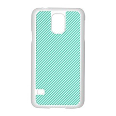 Tiffany Aqua Blue Diagonal Sailor Stripes Samsung Galaxy S5 Case (White)
