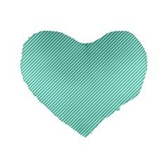 Tiffany Aqua Blue Diagonal Sailor Stripes Standard 16  Premium Flano Heart Shape Cushions