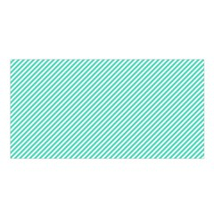 Tiffany Aqua Blue Diagonal Sailor Stripes Satin Shawl