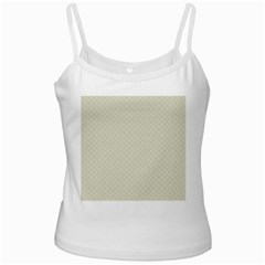 Rich Cream Stitched and Quilted Pattern White Spaghetti Tank