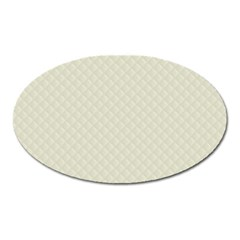 Rich Cream Stitched and Quilted Pattern Oval Magnet
