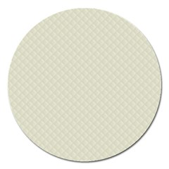 Rich Cream Stitched and Quilted Pattern Magnet 5  (Round)