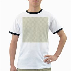 Rich Cream Stitched and Quilted Pattern Ringer T-Shirts