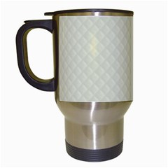 Rich Cream Stitched and Quilted Pattern Travel Mugs (White)