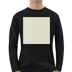 Rich Cream Stitched and Quilted Pattern Long Sleeve Dark T-Shirts