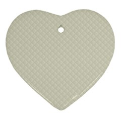 Rich Cream Stitched and Quilted Pattern Heart Ornament (Two Sides)