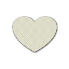 Rich Cream Stitched and Quilted Pattern Heart Coaster (4 pack)