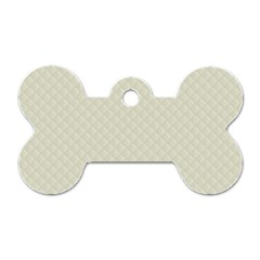 Rich Cream Stitched and Quilted Pattern Dog Tag Bone (Two Sides)