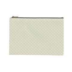 Rich Cream Stitched and Quilted Pattern Cosmetic Bag (Large)