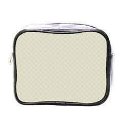 Rich Cream Stitched and Quilted Pattern Mini Toiletries Bags