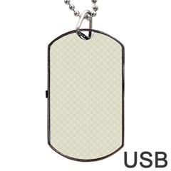 Rich Cream Stitched and Quilted Pattern Dog Tag USB Flash (One Side)
