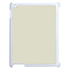 Rich Cream Stitched and Quilted Pattern Apple iPad 2 Case (White)