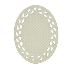 Rich Cream Stitched and Quilted Pattern Ornament (Oval Filigree)