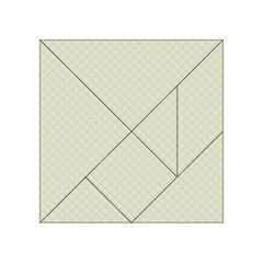Rich Cream Stitched and Quilted Pattern Acrylic Tangram Puzzle (4  x 4 )