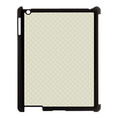 Rich Cream Stitched and Quilted Pattern Apple iPad 3/4 Case (Black)