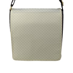 Rich Cream Stitched and Quilted Pattern Flap Messenger Bag (L)