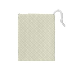 Rich Cream Stitched and Quilted Pattern Drawstring Pouches (Medium)
