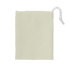 Rich Cream Stitched and Quilted Pattern Drawstring Pouches (Large)