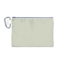 Rich Cream Stitched and Quilted Pattern Canvas Cosmetic Bag (M)