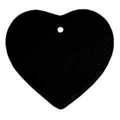 Sleek Black Stitched and Quilted Pattern Ornament (Heart)