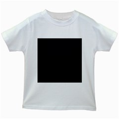Sleek Black Stitched and Quilted Pattern Kids White T-Shirts