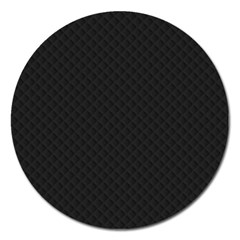 Sleek Black Stitched and Quilted Pattern Magnet 5  (Round)