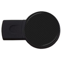 Sleek Black Stitched and Quilted Pattern USB Flash Drive Round (4 GB)