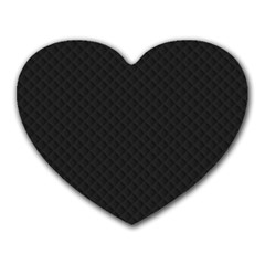 Sleek Black Stitched and Quilted Pattern Heart Mousepads