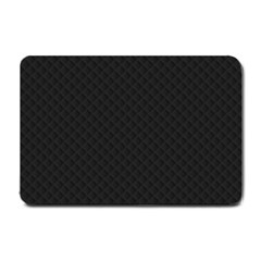 Sleek Black Stitched and Quilted Pattern Small Doormat