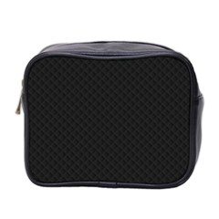 Sleek Black Stitched and Quilted Pattern Mini Toiletries Bag 2-Side