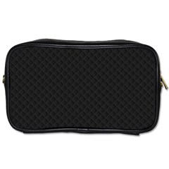 Sleek Black Stitched and Quilted Pattern Toiletries Bags 2-Side