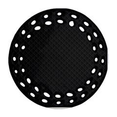 Sleek Black Stitched and Quilted Pattern Ornament (Round Filigree)