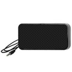 Sleek Black Stitched and Quilted Pattern Portable Speaker (Black)