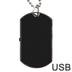 Sleek Black Stitched and Quilted Pattern Dog Tag USB Flash (One Side)