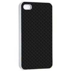 Sleek Black Stitched and Quilted Pattern Apple iPhone 4/4s Seamless Case (White)