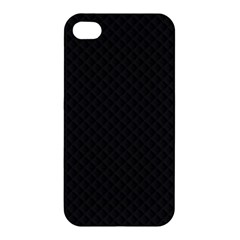 Sleek Black Stitched and Quilted Pattern Apple iPhone 4/4S Hardshell Case