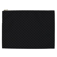 Sleek Black Stitched And Quilted Pattern Cosmetic Bag (xxl)