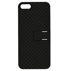 Sleek Black Stitched and Quilted Pattern Apple iPhone 5 Hardshell Case with Stand