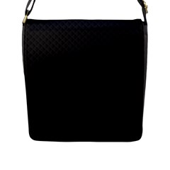 Sleek Black Stitched and Quilted Pattern Flap Messenger Bag (L)