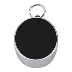 Sleek Black Stitched and Quilted Pattern Mini Silver Compasses
