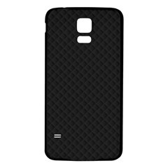 Sleek Black Stitched and Quilted Pattern Samsung Galaxy S5 Back Case (White)